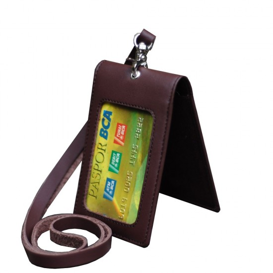 Id Card Holder Dua Sisi Double Flip Plus Tali Kulit Warna Coklat