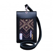 Leather Castle Id Card Holder Double Flip Magnet Tali Kulit Hitam