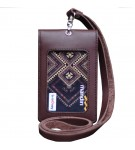 Leather Castle Id Card Holder Double Flip Magnet Tali Kulit Coklat