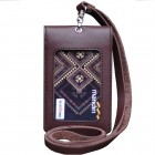 Leather Castle Id Card Holder Double Flip Magnet Tali Kulit Coklat